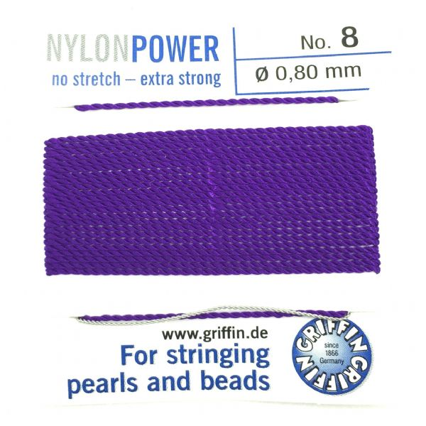 Griffin Bead Cord - Nylon Power - AMETHYST - Choose size of thread
